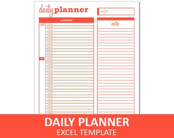 Basic Daily Planner - Orange | Printable Excel Planner Template | Daily Schedule | Instant Digital Download