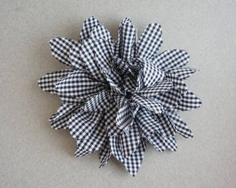 Black and white gingham fabric flower Barrette