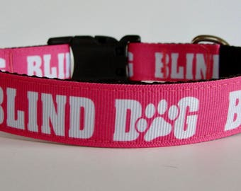 Blind Dog Collar or Leash with Paw Print - Pink or Red - Ready to Ship!