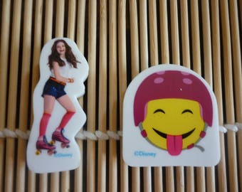 "Erasers character ""SOY LUNA"" a girl on skates and a smiley face with headphones, sold in packs of 2."