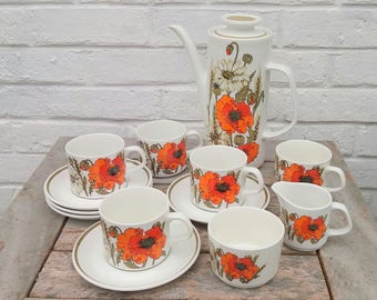 Vintage J & G Meakin Eve Midwinter 'Poppy' Design Coffee Set with Coffee Pot, 5 Cups and Saucers, Sugar Bowl and Creamer