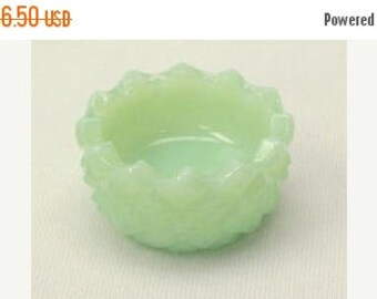 Summer Sale Salt Cellar Hobnail in Jade Green Glass