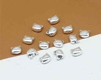 5 Sterling Silver Small Cat Beads, 925 Silver Cat Beads, Cat Head Beads - TF895