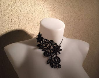 Bridal lace black flower