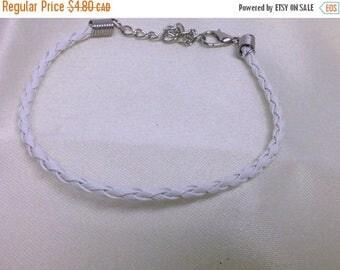 Clearance sale White Leather Braided Bracelet , men , women, teens, simple , clean, wrist, gift