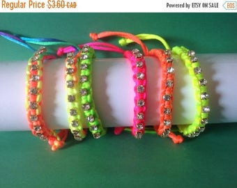 Clearance sale Crystal Rhinestone Friendship Bracelets , Girls , Teens , Free Shipping , Neon , Rainbow ,