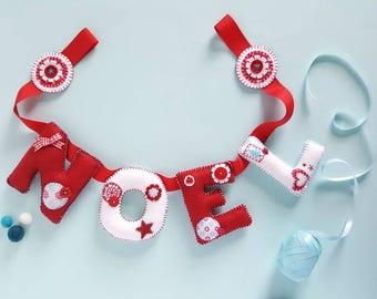 Felt Christmas garland decoration - Christmas bunting decoration - Christmas decor - Christmas banner - festive bunting - felt letters NOEL