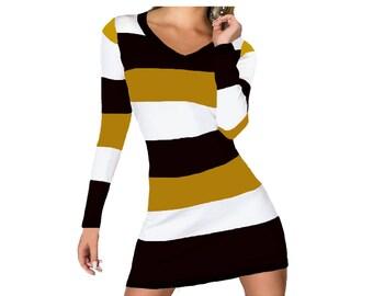 Black + Gold Stripe Spirit Dress