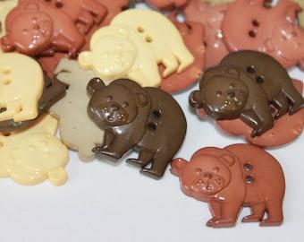 Bear shape buttons, cute mixed color children buttons, animal shape buttons, wild animal, large bear buttons, children cartoon buttons