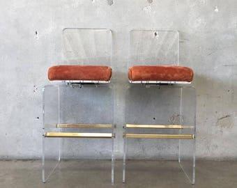 vintage swivel lucite bar stools by charles hollis jones 2jwgx6
