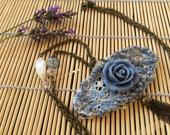 Necklace romantic designer Shabby blue