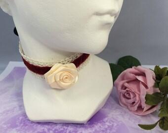 the Choker necklace romantic ivory pink Burgundy Velvet