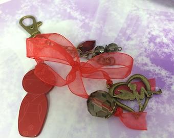 Red lace Kokeshi organza charm bag charm