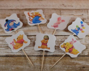 Winnie the Pooh cupcake toppers, Winnie the Pooh cupcake picks, Winnie the Pooh party theme