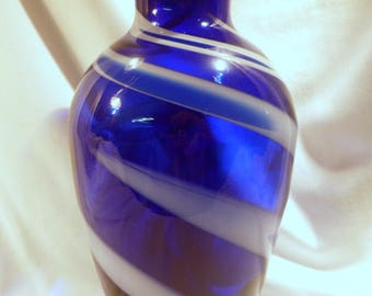 Large Art Glass Cobalt Blue Vase with Swirled White Streaks, Excellent Condition