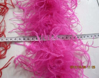 Wholesale 10 Yards Curly Ostrich  feather  Boa Burlesque Costume Hot Pink Color 5pieces