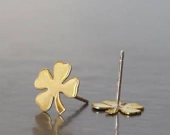 SUMMER SLE Four Leaf Clover studs earrings ,Clover earrings ,Lightweight earrings ,St Patricks Day,Small Brass clover  with sterling silver