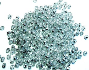 100 BEADS FACETED TWO-TONED CRYSTAL AND SILVER 5 MM
