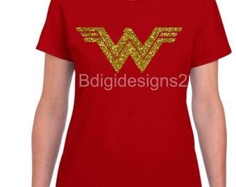 Wonder Woman Glitter or Plain Heat Press Shirt - Toddler/Girls/Womens