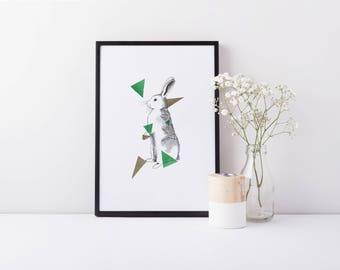 Jump - A5 Rabbit Bunny Illustration Art Print