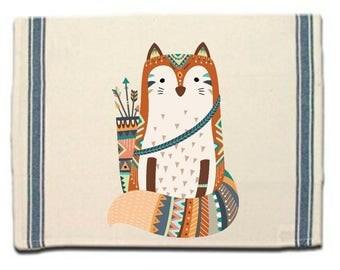 Tribal Fox Kitchen Towel,Fox lover gift Tea Towel,Flour Sack Material,Woodland Tribal Animals Dish Towel, Whimsical Kitchen Towel,Dish Cloth