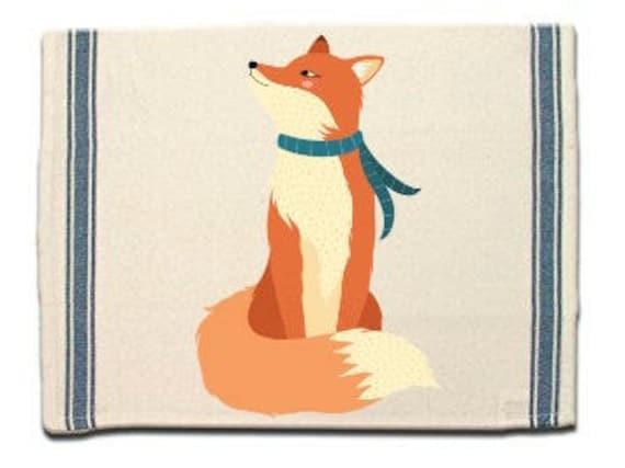 Fox in Scarf Kitchen Towel, Dish Towel, Tea Towel, Flour Sack Material,Woodland Animals Dish Towels,Flour Sack Kitchen Towel, Dish Cloth