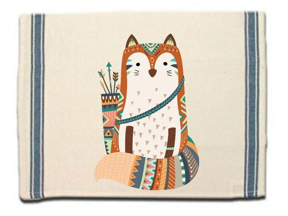 Tribal Fox Kitchen Towel,Dish Towel, Tea Towel,Flour Sack Material,Woodland Tribal Animals Dish Towels,Flour Sack Kitchen Towel,Dish Cloth