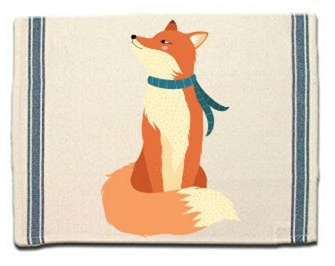 Featured listing image: Fox in Scarf Kitchen Towel, Fox lover gift, Tea Towel, Flour Sack Material,Woodland Animals Dish Towels,whimsical Kitchen Towel, Dish Cloth