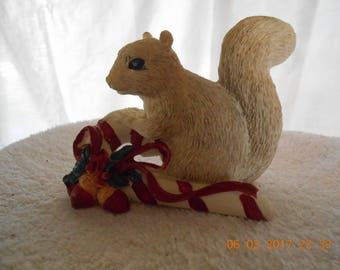 Cream Colored Squirrel Figurine ~ Christmas Pets