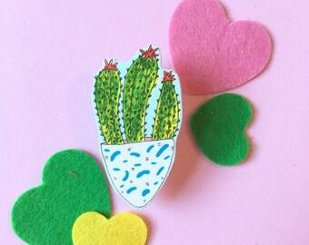 Cute Cactus Brooch, Succulent Pin Badge