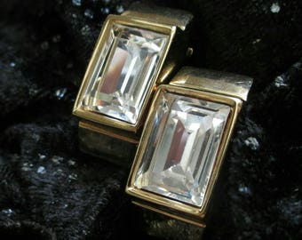 Givenchy Earrings Crystal faceted emerald cut rhinestone Vintage clip on shiny statement gold tone designer signed sparkly haute couture