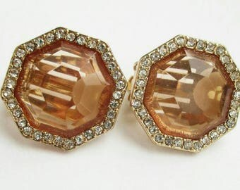 Vintage pave salmon Earrings shiny small round clip on Gold Tone designer earrings Jewelry dressy earrings classic earrings
