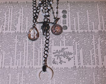 Gunmetal chain with white tusk layering necklace