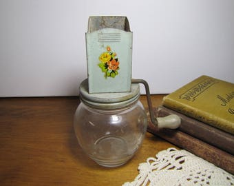 Vintage Hazel Atlas Glass Company Nut Grinder - Floral Decal