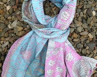 Silk kantha stitch scarf