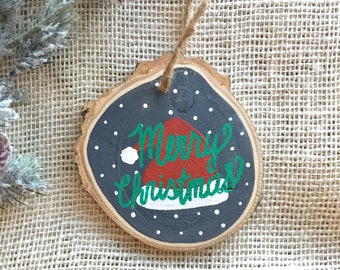 Tree slice ornament - Christmas ornament - hand painted ornament - tree ornament - handmade ornament