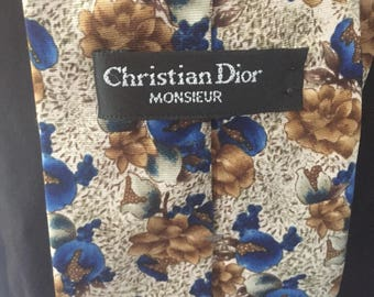Vintage Christian Dior necktie, blue and brown floral.