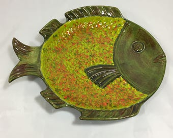 Hand Made Glazed Pottery Art Decorative Fish Plate signed Lillian
