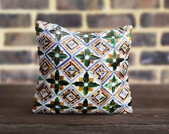 Moroccan PillowCase Green Throw Pillow Cover Luxury Pillow Toss Silk Pillow Case Azulejo Tile Cushion Satin Pillow Cover Mom Gift Home Decor