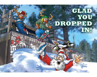 SKATEBOARD CHRISTMAS CARD - Glad you dropped in! Funny Christmas card - Card for son