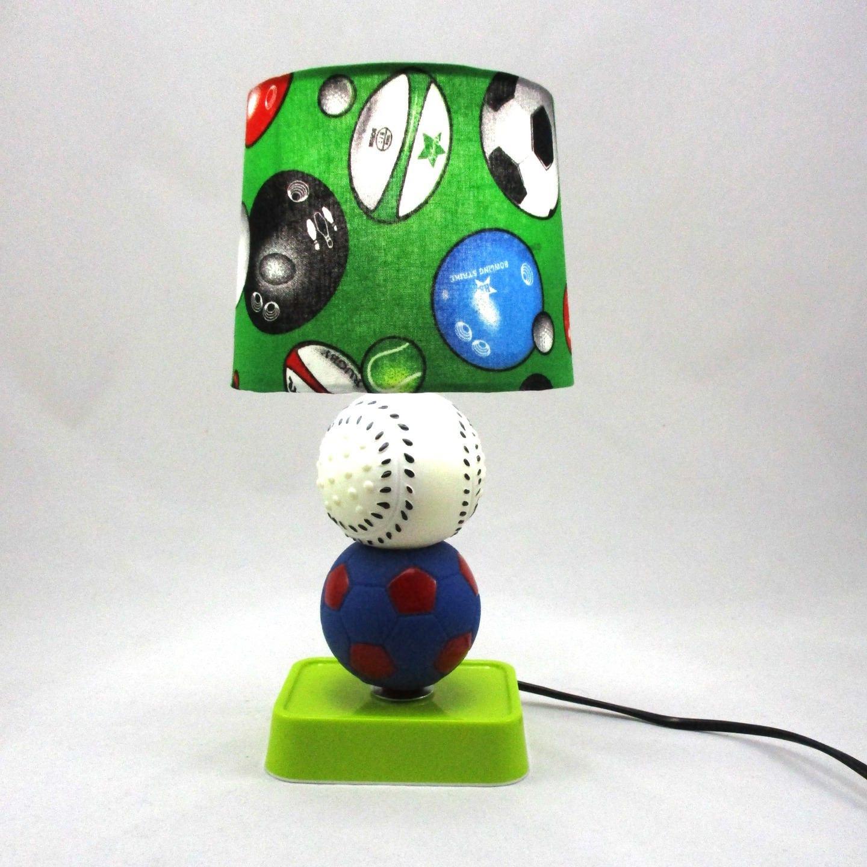 Lampe enfant chevet sportif ballon foot balle base ball - Lampe de chevet enfant ...