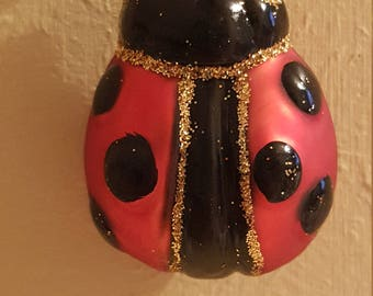 "Blown Glass Ladybird Bug Glass Christmas Tree Ornament or decoration - 2"" made in Poland"