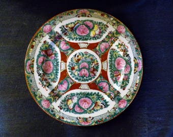 Cantonese porcelain famille rose plate decorated with butterflies, flowers and birds, mark Qianlong Nian Zhi Macau 1950s