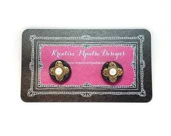 Polymer Clay - Black & Glitter Round Stud Earrings with Gold and Pearl Charm