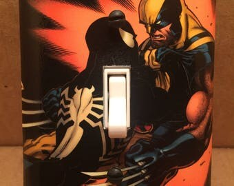 Spiderman Vs Wolverine Light Switch Cover - Handmade - Marvel Comics