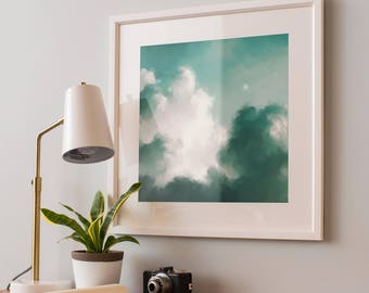 CLOUD PAINTING, Cloud Art, Digital Download Abstract Print, Large, Abstract Printable, Green Wall Art, Abstract Painting, Abstract Download