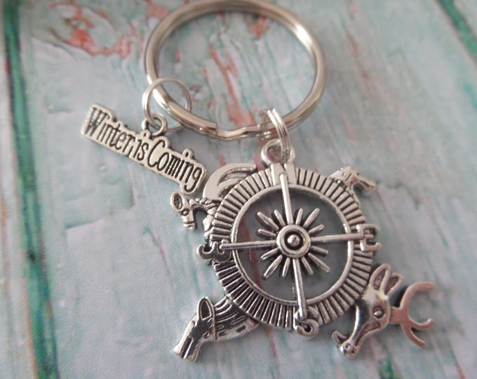 Game of Thrones themed Winter is Coming Compass keyring, winter coming gift, thrones keyring, novelty gift, sandykissesuk