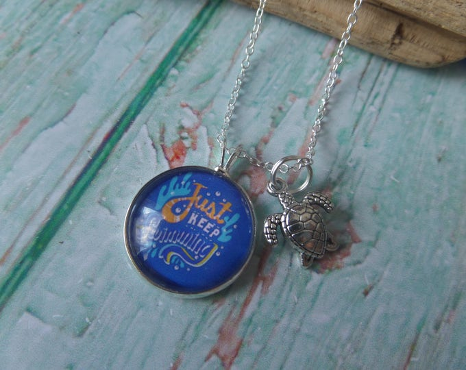 """Dory Nemo themed 20mm Glass Dome Necklace """" just keep swimming """" fan gift jewellery, xmas stocking, college gift, university gift, tortoise"""