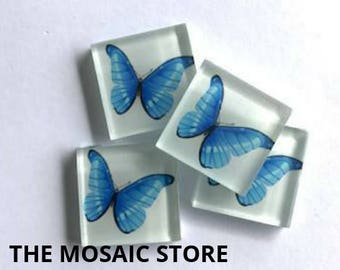 Hand Printed 2.5cm Glass Tiles - Pattern 9