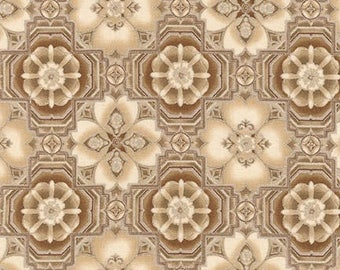 La Scala Natural Metallic Medallion from Robert Kaufman by the yard